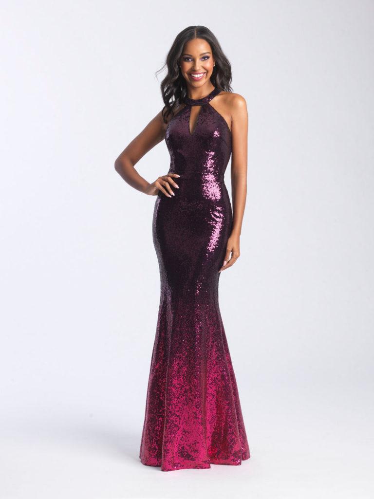 Madison James Black Fuchsia Prom Dress