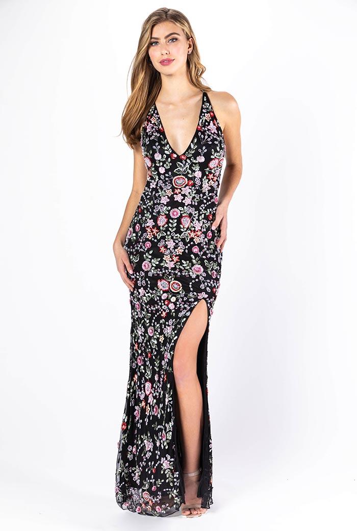 Primavera-3073-BLACK MULTI-Prom Dress