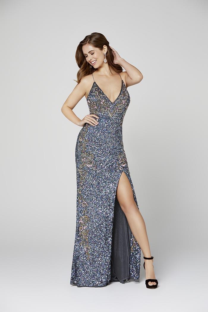 Primavera-3211-CHARCOAL-Prom Dress