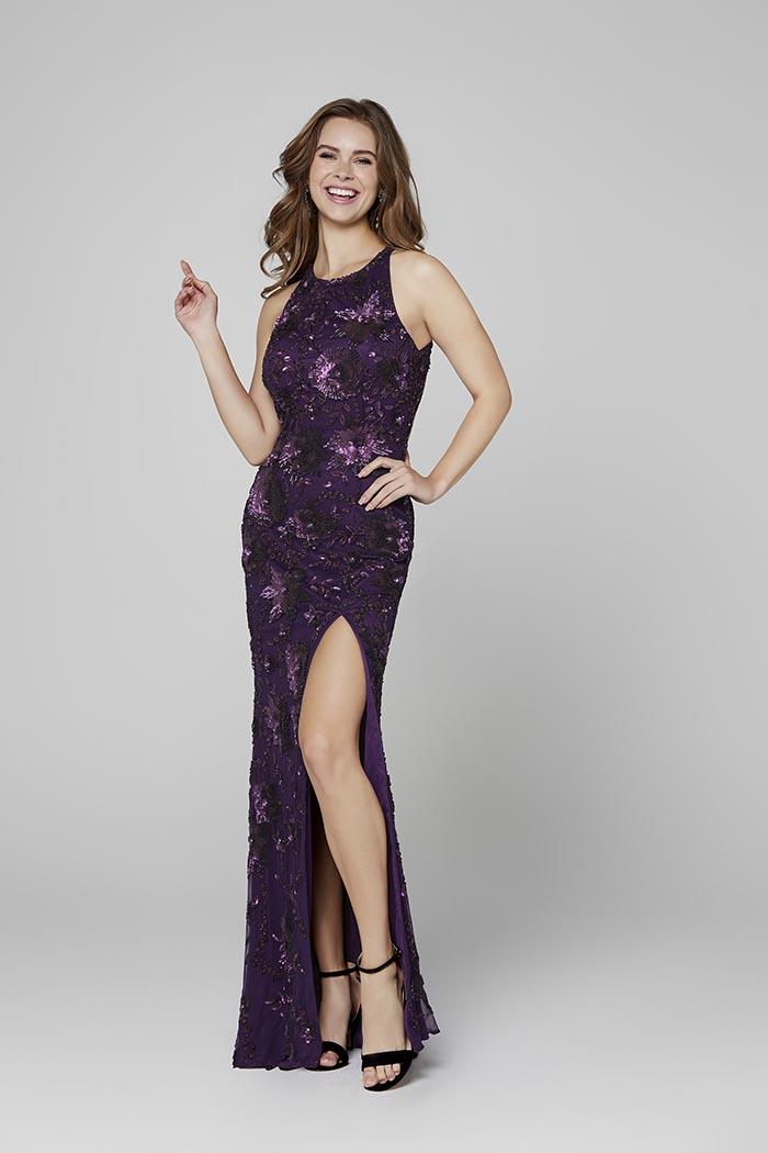 Primavera-3432-AUBERGINE-Prom Dress