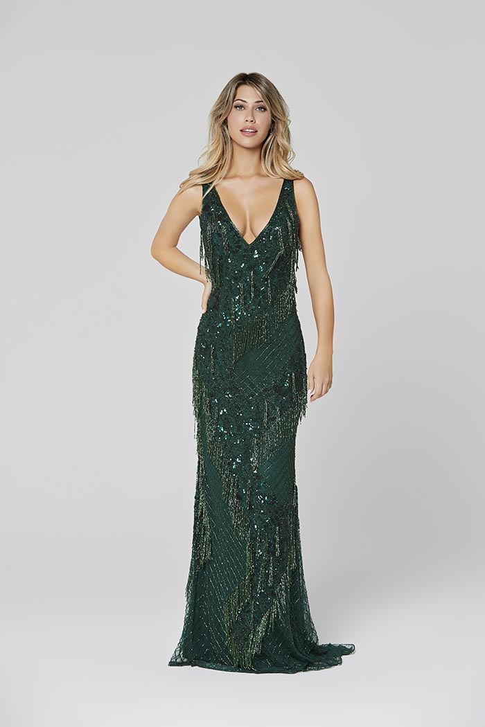 Primavera-3467-FOREST GREEN-Prom Dress