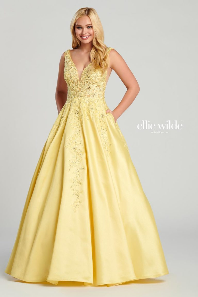 Ellie Wilde Light Yellow Prom Dress